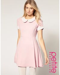 ASOS Collection Pink Asos Petite Exclusive Waisted Dress with Crochet Collar and Cuff