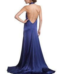 Ferragamo Blue Jewelled Silk Sable Long Dress