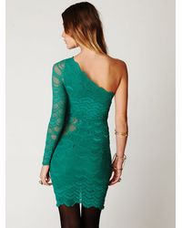 Free People Green One Sleeve Victorian Dress