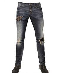 John Richmond | Blue 19cm Swarovski Stretch Denim Jeans for Men | Lyst