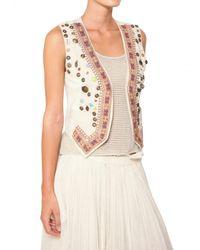 Mes Demoiselles Natural Embroidered Cotton Cloth Vest