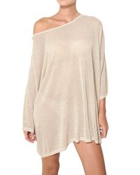 Mes Demoiselles Natural Sheer Ribbed Lurex Oversize Knitted Sweater
