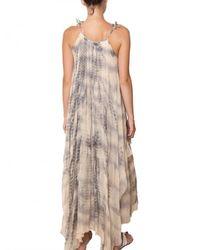 Mes Demoiselles Gray Layered Batik Georgette Long Dress