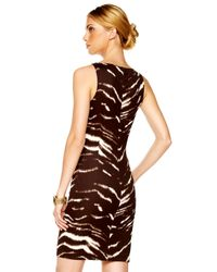 Michael Kors Brown Exclusive Buckle-strap Printed Dress