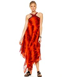 Michael Kors | Red Faux-python Halter Caftan | Lyst