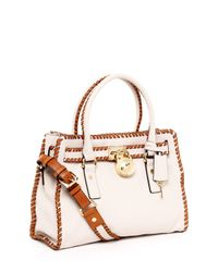Michael Kors | Hamilton Whipped East West Satchel, White | Lyst