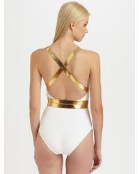 Michael Kors   White Metallic Wraparound Belt One-piece Swimsuit   Lyst