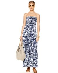 Michael Kors Blue Strapless Maxi Dress