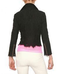 MSGM Black Cotton Lace Biker Jacket