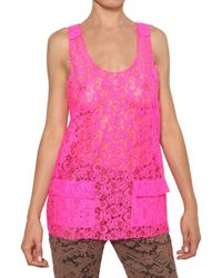 MSGM Pink Lace Top