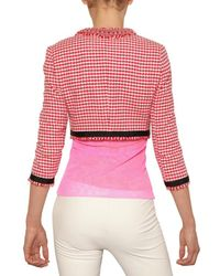 MSGM Red Cropped Cotton Tweed Jacket