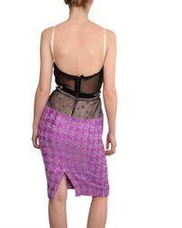 Nina Ricci Black Mesh Top Blended Tweed Dress