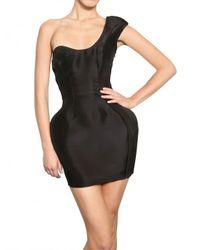 Paco Rabanne | Black One Shoulder Silk Organza Tulip Dress | Lyst