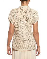 Parronchi Natural Crochet Knit Cardigan Sweater