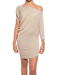 Parronchi Natural Stretch Ribbed Knit Dress