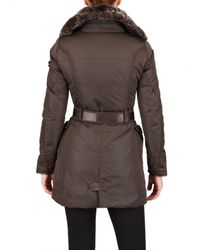 Peuterey - Brown Rabbit Fur Collar Nylon Down Jacket - Lyst