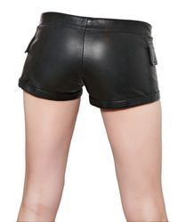 Philipp Plein Black Stretch Nappa Leather Shorts