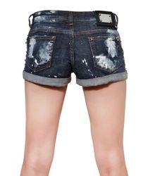 Philipp Plein Blue Studded Stretch Cotton Denim Shorts