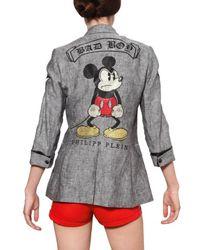 Philipp Plein Gray Swarovski Mickey Cool Wool Jacket