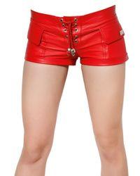 Philipp Plein Red Stretch Nappa Leather Shorts