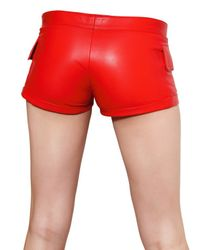 Philipp Plein | Red Stretch Nappa Leather Shorts | Lyst