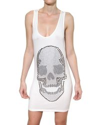 Philipp Plein White Swaroski Skull Viscose Jersey Dress