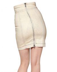 Balmain Natural Acid Washed Waxed Denim Stretch Skirt