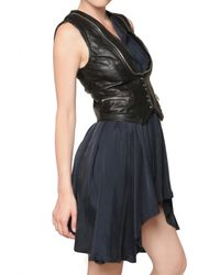 Balmain Black Biker Leather Vest