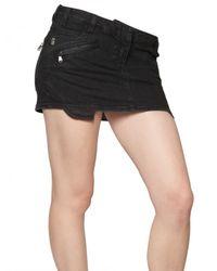 Balmain Black Denim Stretch Mini Biker Skirt