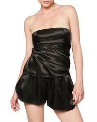 Balmain Black Draped Silk Satin Jumpsuit