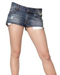 Balmain | Blue Denim Stretch Mini Shorts | Lyst