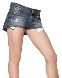 Balmain - Blue Denim Stretch Mini Shorts - Lyst