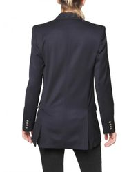 Balmain Blue Stretch Wool Double Breasted Jacket