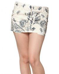 Balmain White Printed Denim Stretch Mini Skirt
