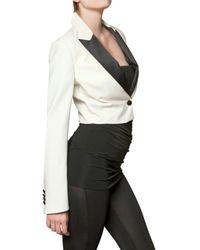 Balmain White Wool Cloth Tuxedo Jacket