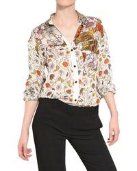 Proenza Schouler White Printed Silk Chiffon Shirt