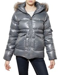 Pyrenex | Gray Racoon Hood Laquered Nylon Down Jacket | Lyst