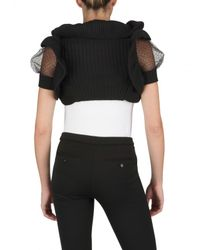 RED Valentino Black Wool Knit Tulle Shrug Sweater