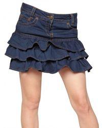 RED Valentino Blue Ruched Denim Skirt Skirt