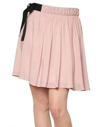 Red Valentino   Pink Flowy Crepe Bow Skirt   Lyst