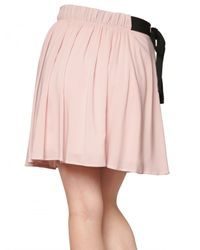 RED Valentino Pink Flowy Crepe Bow Skirt
