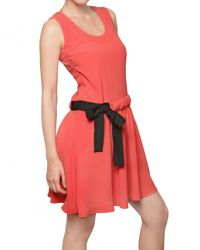 RED Valentino Pink Flowy Crepe Bow Dress