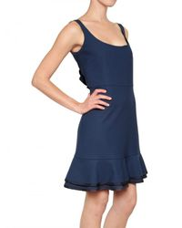 RED Valentino Blue Structured Cady Back Ruffle Dress