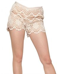 RED Valentino | White Crochet Cotton Knit Mini Shorts | Lyst