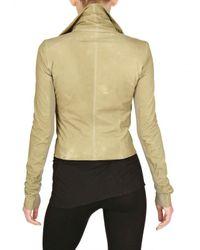 Rick Owens Natural Biker Velo Leather Jacket