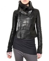 Rick Owens | Black Crocodile Leather Jacket | Lyst
