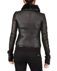 Rick Owens - Black Shearling Biker Leather Jacket - Lyst