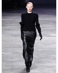 Rick Owens | Black Waxed Cotton Long Skirt | Lyst