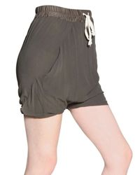 Rick Owens Green Double Layered Silk Georgette Shorts