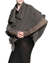 Rick Owens Gray Leather Cuffs Silk Georgette Jacket